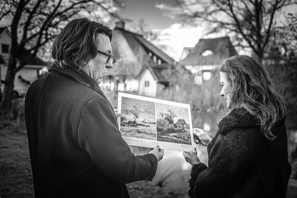 Marlis Zahn and Heiko Jäckstein researching the topography of the painting and sketch motifs. Photo: Steve Adkisson Photography